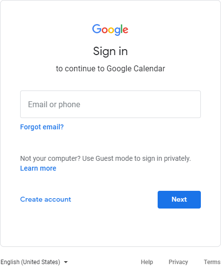 The Google Calendar login screen; Google is at the top, and there is an empty field for the user's email adress or phone number to be entered.
