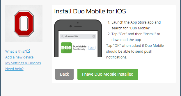 Installation of Duo Mobile confirmation screen