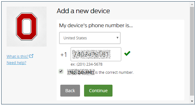 Add a Mobile Device phone number screen