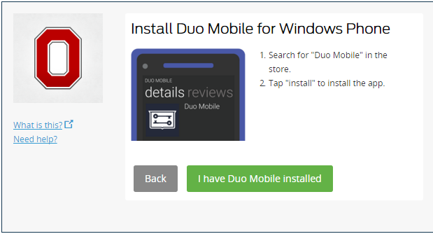 Duo Mobile installation prompt
